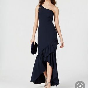 Vince Camuto navy ruffle hem gown size 2